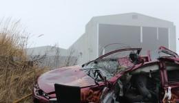 Smadret bil fra Copenhell-festivalen.